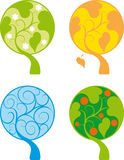 Four Seasons Tree. Four color abstract tree icon set isolated on white Stock Image