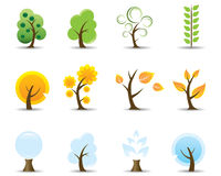 Four Seasons Tree Icons Stock Image