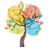 Four seasons tree sketch Stock Image