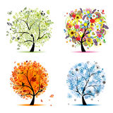 Four seasons tree - spring, summer, autumn, winter royalty free illustration