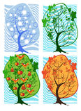 Four seasons in a tree Stock Photography