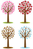 Four seasons trees. Illustration of four seasons trees isolated on white background. EPS file available royalty free illustration