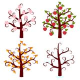 Four seasons trees art Royalty Free Stock Images