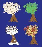 Four Seasons Trees Background Illustration Stock Image