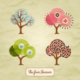 Four Seasons Trees Background Illustration Stock Images