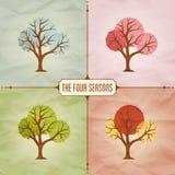 Four Seasons Trees Background Illustration Royalty Free Stock Photo