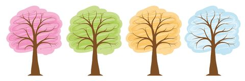 Four seasons trees in bright colors spring summer autumn winter stock illustration