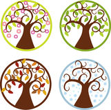 Four seasons trees illustration Royalty Free Stock Photo
