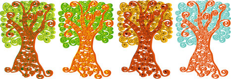 Four seasons trees illustration Royalty Free Stock Image
