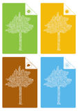 Four seasons trees illustration Stock Photography