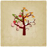 Four seasons trees old background Stock Photography