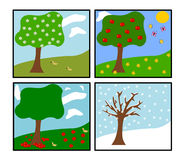 Four seasons (vector). Illustration of a landscape in all four seasons vector illustration