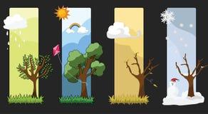 Four Seasons Vector. Background. Each season many emotions Royalty Free Stock Photo