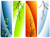 Four seasons vector. Floral banners with apple tree vector illustration