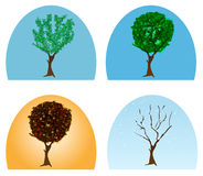 Four seasons. Vector abstract tree during four seasons Stock Photography