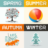 Four Seasons Vector Illustration Royalty Free Stock Images
