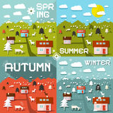 Four Seasons Vector Illustration Royalty Free Stock Photo