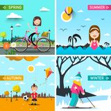 Four Seasons Vector Landscapes with People. Spring, Summer, Autumn and Winter Scenes Vector Illustration