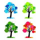 Four seasons - 4 vector trees vector illustration