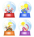 Four Seasons Water Globes. Water globes of four seasons Royalty Free Stock Photo