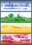 Four Seasons. Watercolor landscapes vector set Royalty Free Stock Photo