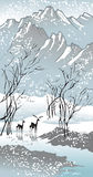 Four seasons: winter. Hand-drawing picture in Chinese traditional painting style, vector illustration Stock Images