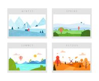 Four seasons: winter, spring, autumn and summer scenes. Nature landscape. Minimal flat style. Vector stock illustration