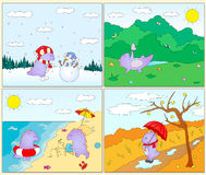 Four seasons: winter, spring, summer and autumn with purple drag Royalty Free Stock Photos