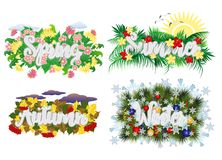Four seasons word banners, vector. Illustration stock illustration