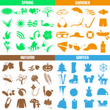 Four seasons of the year big set of icons eps10 Stock Photography