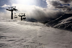 Four-seater Chairlift Silhouette Royalty Free Stock Photos