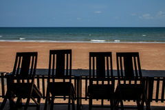 Four seaview chairs. On sunny day royalty free stock images