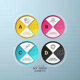 Four separate circular elements with pictograms  Stock Image