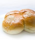 four sesame seed buns Stock Images