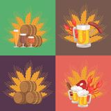 Four Sets of Beer Composition Vector Illustration. On green, brown and red backgrounds including glass of beer, ear of wheat, snacks Stock Photos