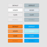 Four sets of keys, white, gray, orange and blue at position defa Stock Images
