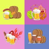 Sets of Beer Symbolic pics Vector Illustration. Four sets of symbolic pictures vector illustration on light-green, pink and blue, representing beer glasses Stock Image