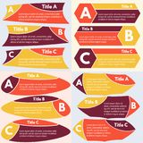 Four sets of three elements of infographic design. Step by step infographic design template. Vector illustration Royalty Free Stock Photography