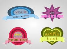 Four shaped badges Royalty Free Stock Photo