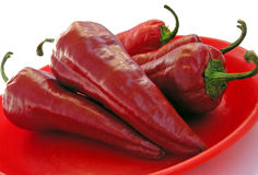 Four shapely chili Stock Images