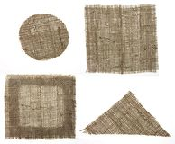 Four shapes burlap canvas royalty free stock images