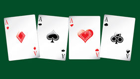 Four sheet of cards. On green background Stock Photos