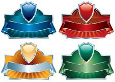 Four shield labels silver Stock Images