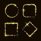 Four shiny golden glitter frames Stock Image