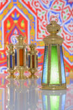 Four Shiny Lanterns over Ramadan Fabric Stock Photos