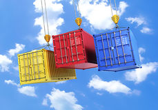 Four shipping containers during transport Royalty Free Stock Image