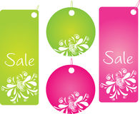 Four shopping badges with pretty design. Set of four shopping labels with pretty design in green and pink color Royalty Free Stock Photo