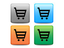 Shopping buttons set. Four shopping buttons with shopping carts royalty free illustration