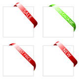 Four shopping sale tags labels corners Royalty Free Stock Photos