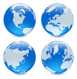 Four side shiny globes Royalty Free Stock Images